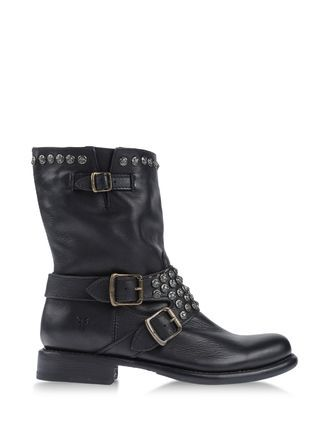 Boots Ankle Boots On Shoescribe.Com - predominant colour: black; occasions: casual; material: leather; heel height: flat; embellishment: studs; heel: standard; toe: round toe; boot length: ankle boot; style: biker boot; finish: plain; pattern: plain; season: s/s 2013