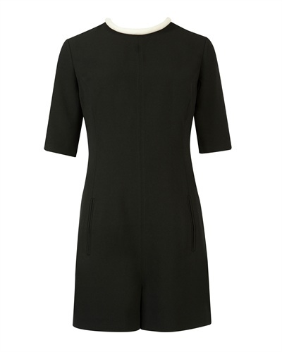 Ted Baker Solow Contrast Neck Playsuit - fit: tailored/fitted; pattern: plain; length: mid thigh shorts; secondary colour: white; predominant colour: black; occasions: evening, occasion, creative work; fibres: polyester/polyamide - 100%; neckline: crew; sleeve length: half sleeve; sleeve style: standard; texture group: crepes; style: playsuit; pattern type: fabric; trends: gothic romance; season: s/s 2013