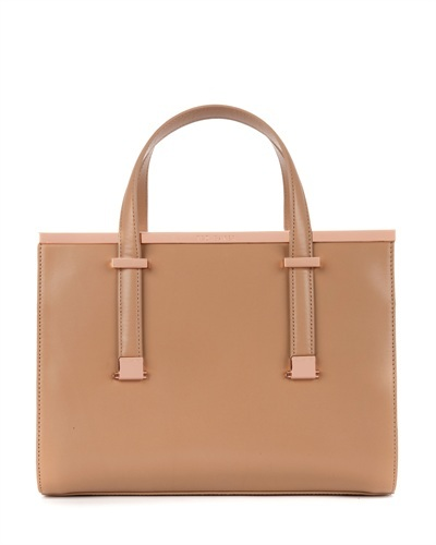 Ted Baker Harpel Metallic Bar Tote Bag - predominant colour: tan; secondary colour: gold; occasions: casual, work; type of pattern: standard; style: tote; length: handle; size: standard; material: leather; pattern: plain; finish: plain; embellishment: chain/metal; trends: 1940's hitchcock heroines; season: s/s 2013