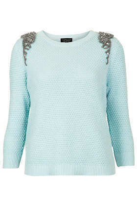 Knitted Crystal Shoulder Sweat - pattern: plain; style: standard; predominant colour: pale blue; occasions: casual; length: standard; fibres: cotton - stretch; fit: standard fit; neckline: crew; shoulder detail: added shoulder detail; sleeve length: 3/4 length; sleeve style: standard; texture group: knits/crochet; pattern type: knitted - other; embellishment: crystals/glass; season: s/s 2013