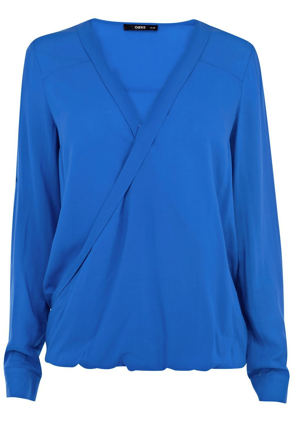Wrap Viscose Shirt, Blue - neckline: low v-neck; pattern: plain; style: wrap/faux wrap; predominant colour: royal blue; occasions: casual, evening, work; length: standard; fibres: viscose/rayon - 100%; fit: body skimming; sleeve length: long sleeve; sleeve style: standard; texture group: silky - light; pattern type: fabric; season: s/s 2013