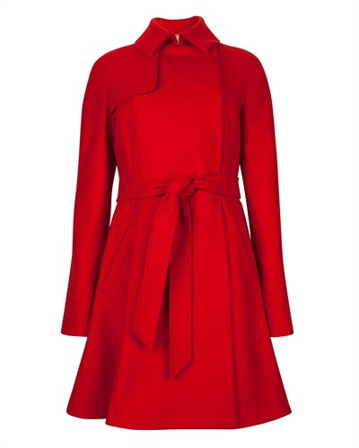 Ted Baker Albine Wool Trench Coat - pattern: plain; style: princess; length: on the knee; predominant colour: true red; occasions: casual, work, creative work; fit: tailored/fitted; fibres: wool - mix; collar: shirt collar/peter pan/zip with opening; waist detail: belted waist/tie at waist/drawstring; sleeve length: long sleeve; sleeve style: standard; collar break: high; pattern type: fabric; texture group: woven bulky/heavy; trends: broody brights; season: s/s 2013
