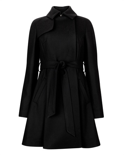 Ted Baker Albine Wool Trench Coat - pattern: plain; style: princess; length: mid thigh; predominant colour: black; occasions: casual, evening, work, creative work; fit: tailored/fitted; fibres: wool - mix; collar: shirt collar/peter pan/zip with opening; waist detail: belted waist/tie at waist/drawstring; sleeve length: long sleeve; sleeve style: standard; collar break: high; pattern type: fabric; texture group: woven bulky/heavy; season: s/s 2013