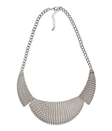 Short Necklace - predominant colour: silver; occasions: casual, evening, work, occasion, holiday; length: mid; size: large/oversized; material: chain/metal; finish: plain; style: bib/statement; season: s/s 2013