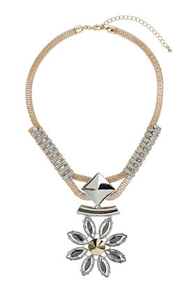 Rhinestone Flower Spike Pendant - predominant colour: silver; secondary colour: gold; occasions: evening, occasion, holiday; style: pendant; length: mid; size: large/oversized; material: chain/metal; finish: plain; embellishment: crystals/glass; season: s/s 2013