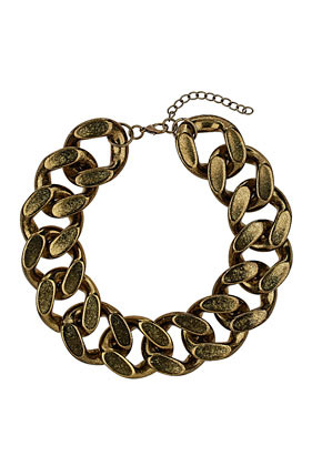 Large Chunky Chain Necklace - predominant colour: bronze; occasions: casual, evening, holiday; length: short; size: large/oversized; material: chain/metal; finish: metallic; embellishment: chain/metal; season: s/s 2013; style: chain (no pendant)