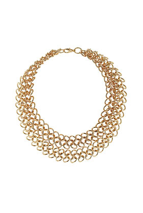 Loop Chain Multirow Necklace - predominant colour: gold; occasions: evening, work, occasion, holiday; length: mid; size: large/oversized; material: chain/metal; finish: metallic; embellishment: chain/metal; style: bib/statement; season: s/s 2013