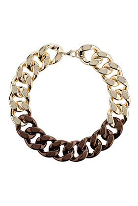 Mixed Metal Chunky Chain - secondary colour: chocolate brown; predominant colour: gold; occasions: casual, evening; length: short; size: large/oversized; material: chain/metal; finish: plain; season: s/s 2013; style: chain (no pendant)