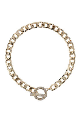 Premium Pave Clasp Necklace - predominant colour: gold; occasions: casual, evening, work, occasion; length: short; size: standard; material: chain/metal; finish: metallic; embellishment: crystals/glass; season: s/s 2013; style: chain (no pendant)