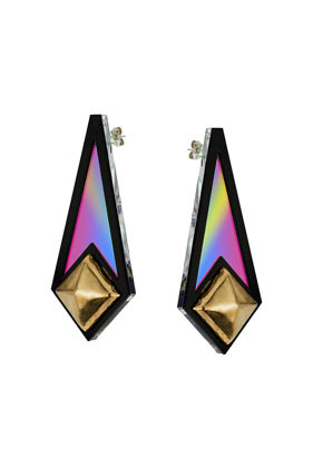 Sarah Angold For Freedom Diamond Shape Earrings - secondary colour: gold; predominant colour: black; occasions: evening, occasion, holiday; style: drop; length: long; size: large/oversized; material: chain/metal; fastening: pierced; finish: metallic; embellishment: studs; season: s/s 2013