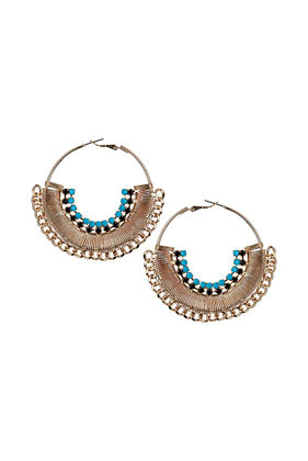 Stone Chain Hoop Earrings - secondary colour: turquoise; predominant colour: gold; occasions: casual, evening, occasion, holiday; style: hoop; length: mid; size: large/oversized; material: chain/metal; fastening: pierced; finish: metallic; embellishment: beading; season: s/s 2013