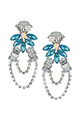 Premium Rhinestone Flower Drop Earrings - predominant colour: turquoise; occasions: evening, occasion; style: chandelier; length: long; size: large/oversized; material: chain/metal; fastening: pierced; finish: plain; embellishment: crystals/glass; secondary colour: clear; season: s/s 2013