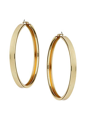 Large Hoop Earrings - predominant colour: gold; occasions: casual, evening, work, occasion, holiday; style: hoop; length: long; size: large/oversized; material: chain/metal; fastening: pierced; finish: metallic; season: s/s 2013