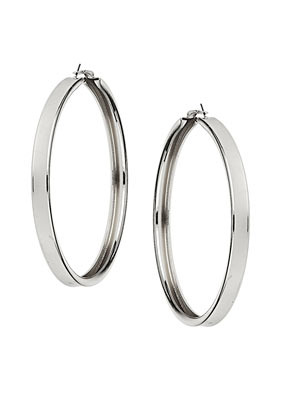 Large Hoop Earrings - predominant colour: silver; occasions: casual, evening, occasion, holiday; style: hoop; length: mid; size: large/oversized; material: chain/metal; fastening: pierced; finish: metallic; season: s/s 2013