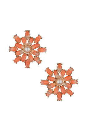 Pastel Flower Earrings - predominant colour: coral; occasions: casual, evening, work, occasion, holiday; style: stud; length: short; size: standard; material: chain/metal; fastening: pierced; finish: metallic; embellishment: jewels/stone; season: s/s 2013