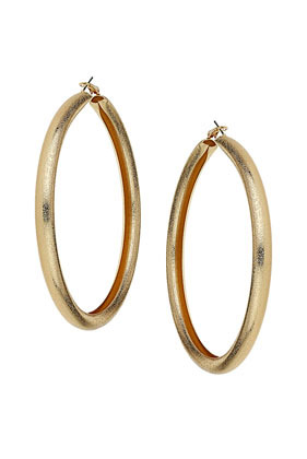 Oversized Sandblast Hoop Earrings - predominant colour: gold; occasions: casual, evening, occasion, holiday; style: hoop; length: mid; size: large/oversized; material: chain/metal; fastening: pierced; finish: metallic; season: s/s 2013
