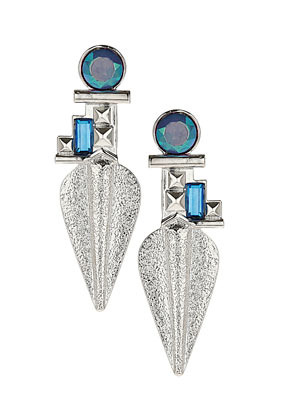Rhinestone And Metal Tusk Earrings - predominant colour: diva blue; secondary colour: silver; occasions: evening, occasion, holiday; style: drop; length: long; size: large/oversized; material: chain/metal; fastening: pierced; finish: metallic; embellishment: jewels/stone; season: s/s 2013