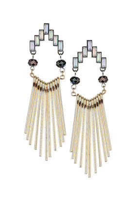 Stick Drop Earrings - secondary colour: silver; predominant colour: gold; occasions: evening, occasion, holiday; style: drop; length: long; size: large/oversized; material: chain/metal; fastening: pierced; finish: metallic; embellishment: crystals/glass; season: s/s 2013