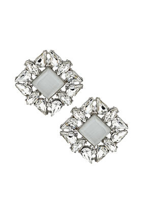 Premium Catseye Rhinestone Square Earrings - predominant colour: silver; occasions: evening, work, occasion; style: stud; length: short; size: standard; material: chain/metal; fastening: pierced; finish: metallic; embellishment: crystals/glass; season: s/s 2013