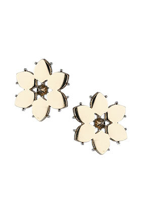 Flower Stud Spike Earrings - predominant colour: gold; occasions: casual, evening, work, occasion, holiday; style: stud; length: short; size: standard; material: chain/metal; fastening: pierced; finish: metallic; season: s/s 2013