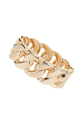 Curb Chain Hinged Cuff - predominant colour: gold; occasions: casual, evening, work, occasion, holiday; style: bangle/standard; size: large/oversized; material: chain/metal; finish: metallic; embellishment: chain/metal; trends: gorgeous grunge; season: s/s 2013