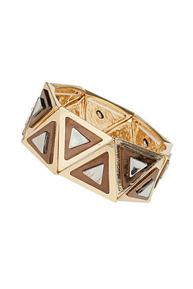 Geometric Stretch Bracelet - secondary colour: silver; predominant colour: gold; occasions: casual, evening, occasion, holiday; style: bangle/standard; size: large/oversized; material: chain/metal; finish: metallic; season: s/s 2013