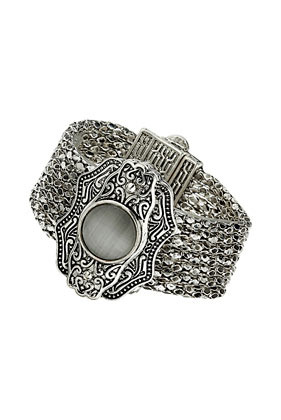 Stone Chain Clasp Bracelet - predominant colour: silver; occasions: casual, evening, occasion, holiday; style: cuff; size: large/oversized; material: chain/metal; finish: metallic; embellishment: jewels/stone; season: s/s 2013