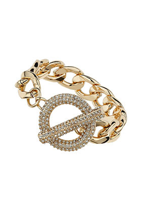 Premium Pave Clasp Bracelet - predominant colour: gold; occasions: evening, occasion, holiday; style: chain; size: large/oversized; material: chain/metal; finish: plain; embellishment: crystals/glass; season: s/s 2013