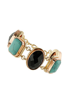 Semi Precious Stone And Bead Bracelet - predominant colour: turquoise; secondary colour: gold; occasions: casual, evening, work, occasion, holiday; style: chain; size: standard; material: chain/metal; finish: plain; embellishment: jewels/stone; season: s/s 2013