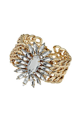 Rhinestone Burst Bracelet - predominant colour: gold; occasions: evening, occasion; style: cuff; size: large/oversized; material: chain/metal; finish: plain; embellishment: crystals/glass; secondary colour: clear; trends: excess embellishment; season: s/s 2013