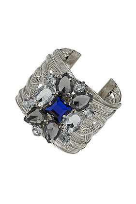 Twisted Rhinestone Cuff - secondary colour: royal blue; predominant colour: silver; occasions: evening, occasion, holiday; style: cuff; size: large/oversized; material: chain/metal; finish: plain; embellishment: jewels/stone; trends: excess embellishment; season: s/s 2013