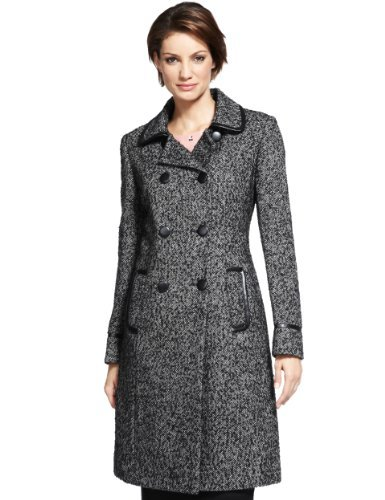 M&S Collection Wool Blend Double Breasted Bouclé Long Coat - style: double breasted; collar: standard lapel/rever collar; pattern: herringbone/tweed; predominant colour: black; occasions: casual, work; fit: tailored/fitted; fibres: wool - mix; length: below the knee; sleeve length: long sleeve; sleeve style: standard; collar break: medium; pattern type: fabric; pattern size: light/subtle; texture group: tweed - bulky/heavy; trends: masculine feminine; season: s/s 2013