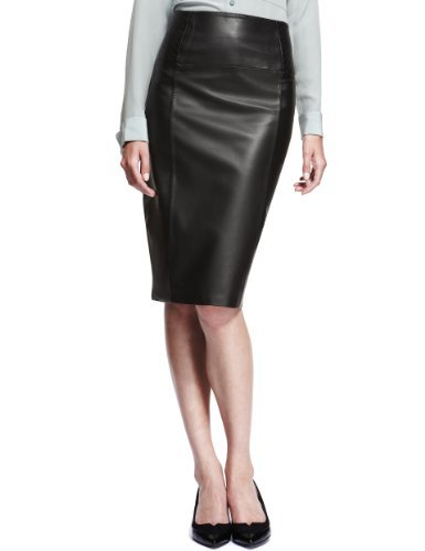 Autograph Leather Panelled Pencil Skirt - pattern: plain; style: pencil; fit: tailored/fitted; waist: high rise; predominant colour: black; occasions: evening; length: just above the knee; fibres: leather - 100%; texture group: leather; pattern type: fabric; trends: 1940's hitchcock heroines; season: s/s 2013