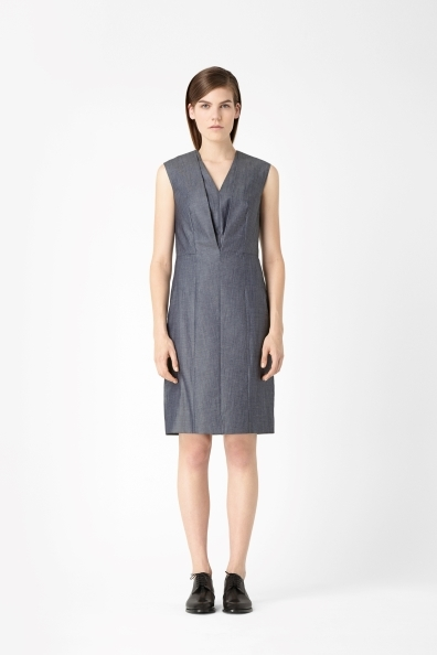 Cotton Chambray Dress - style: shift; neckline: v-neck; fit: tailored/fitted; pattern: plain; sleeve style: sleeveless; bust detail: ruching/gathering/draping/layers/pintuck pleats at bust; predominant colour: charcoal; occasions: casual, evening, work; length: on the knee; fibres: cotton - 100%; sleeve length: sleeveless; texture group: cotton feel fabrics; pattern type: fabric; season: s/s 2013