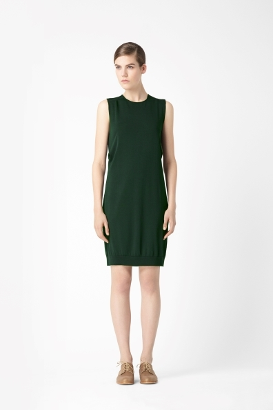 Box Pleat Dress - style: shift; pattern: plain; sleeve style: sleeveless; predominant colour: dark green; occasions: casual, evening, work; length: just above the knee; fit: body skimming; fibres: viscose/rayon - stretch; neckline: crew; sleeve length: sleeveless; texture group: knits/crochet; trends: broody brights; season: s/s 2013