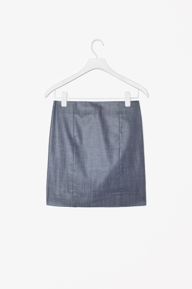 Panelled Chambray Skirt - length: mid thigh; pattern: plain; style: straight; waist: mid/regular rise; predominant colour: denim; occasions: casual, evening, occasion; fibres: cotton - 100%; texture group: cotton feel fabrics; fit: straight cut; pattern type: fabric; season: s/s 2013