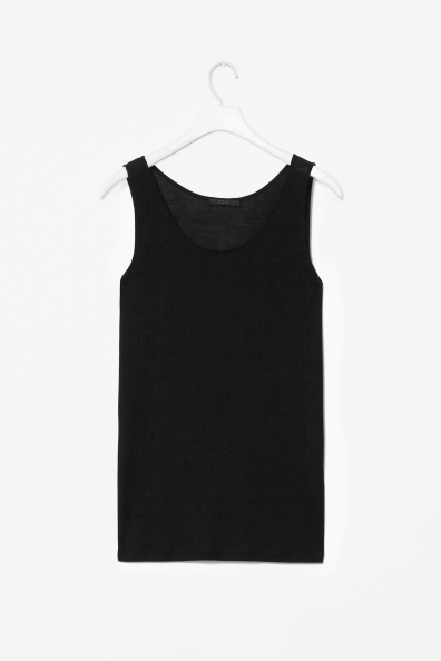 Jersey Vest Top - sleeve style: standard vest straps/shoulder straps; pattern: plain; style: vest top; predominant colour: black; occasions: casual, evening, holiday; length: standard; neckline: scoop; fibres: viscose/rayon - 100%; fit: body skimming; sleeve length: sleeveless; pattern type: fabric; texture group: jersey - stretchy/drapey; season: s/s 2013