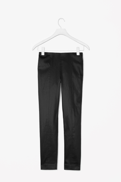 Side Zip Trousers - pattern: plain; waist: mid/regular rise; predominant colour: black; occasions: casual, evening, work; length: ankle length; fibres: cotton - stretch; texture group: cotton feel fabrics; fit: slim leg; pattern type: fabric; style: standard; season: s/s 2013