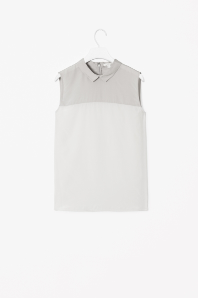 Sleeveless Collar Top - sleeve style: sleeveless; predominant colour: ivory/cream; secondary colour: light grey; occasions: casual, work; length: standard; style: top; fibres: viscose/rayon - stretch; fit: straight cut; neckline: no opening/shirt collar/peter pan; sleeve length: sleeveless; texture group: silky - light; pattern type: fabric; pattern: colourblock; season: s/s 2013