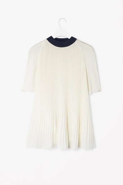A Line Pleated Top - sleeve style: raglan; pattern: plain; neckline: high neck; predominant colour: ivory/cream; secondary colour: navy; occasions: casual, evening, work; length: standard; style: top; fibres: polyester/polyamide - 100%; fit: loose; hip detail: subtle/flattering hip detail; sleeve length: half sleeve; texture group: sheer fabrics/chiffon/organza etc.; pattern type: fabric; season: s/s 2013
