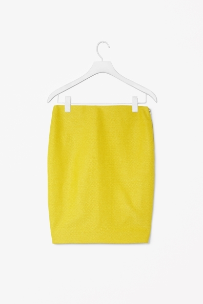 Textured Pencil Skirt - pattern: plain; style: pencil; fit: tailored/fitted; waist: mid/regular rise; predominant colour: yellow; occasions: casual, evening, occasion; length: just above the knee; fibres: cotton - mix; pattern type: fabric; texture group: woven light midweight; trends: boden brights; season: s/s 2013