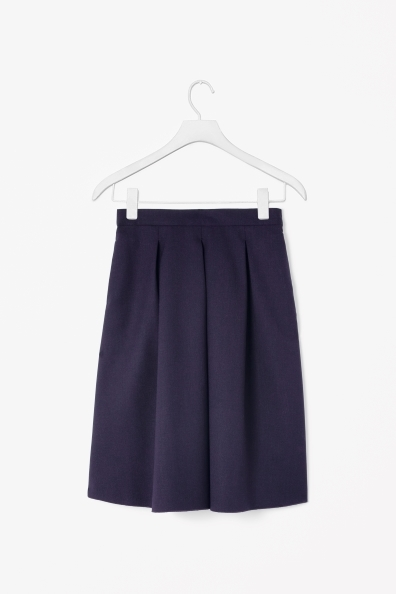 Pleated Wool Skirt - pattern: plain; fit: loose/voluminous; style: pleated; waist: mid/regular rise; predominant colour: navy; occasions: casual, evening, work; length: on the knee; fibres: wool - mix; hip detail: sculpting darts/pleats/seams at hip; pattern type: fabric; texture group: woven light midweight; trends: broody brights; season: s/s 2013