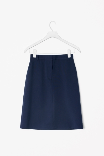A Line Skirt - pattern: plain; fit: loose/voluminous; waist: mid/regular rise; predominant colour: navy; occasions: casual, evening, work; length: on the knee; style: a-line; fibres: wool - mix; pattern type: fabric; texture group: woven light midweight; trends: broody brights; season: s/s 2013