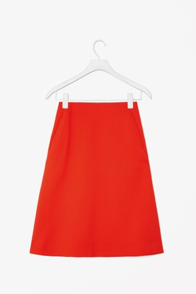 A Line Skirt - pattern: plain; fit: loose/voluminous; waist: mid/regular rise; predominant colour: true red; occasions: casual, evening, work; length: just above the knee; style: fit & flare; fibres: polyester/polyamide - stretch; pattern type: fabric; texture group: woven light midweight; trends: broody brights; season: s/s 2013
