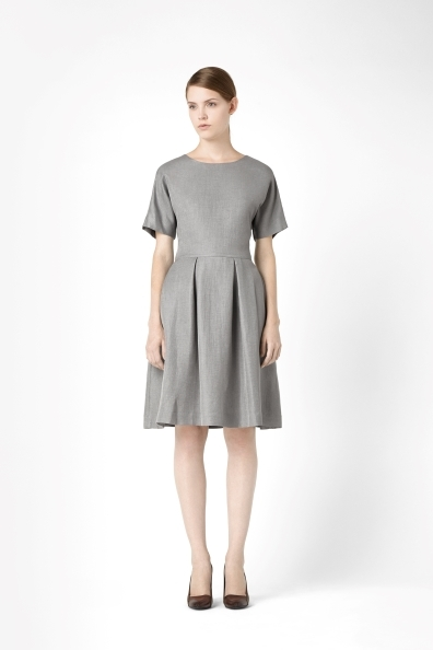Dress With Pleated Skirt - neckline: round neck; pattern: plain; style: full skirt; predominant colour: mid grey; occasions: casual, evening, work, occasion; length: on the knee; fit: fitted at waist & bust; fibres: linen - mix; hip detail: adds bulk at the hips; sleeve length: short sleeve; sleeve style: standard; texture group: linen; pattern type: fabric; trends: 1940's hitchcock heroines; season: s/s 2013