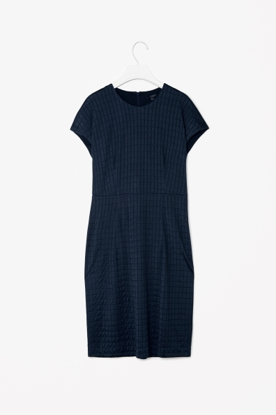 Wool Mix Jersey Dress - style: shift; neckline: round neck; fit: tailored/fitted; pattern: checked/gingham; predominant colour: navy; occasions: casual, evening, work; length: just above the knee; fibres: polyester/polyamide - stretch; sleeve length: short sleeve; sleeve style: standard; pattern type: fabric; pattern size: light/subtle; texture group: jersey - stretchy/drapey; season: s/s 2013