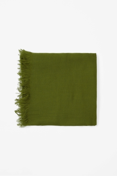 Fine Wool Mix Scarf - predominant colour: emerald green; occasions: casual, evening, work, occasion; type of pattern: standard; style: regular; size: standard; material: fabric; pattern: plain; season: s/s 2013