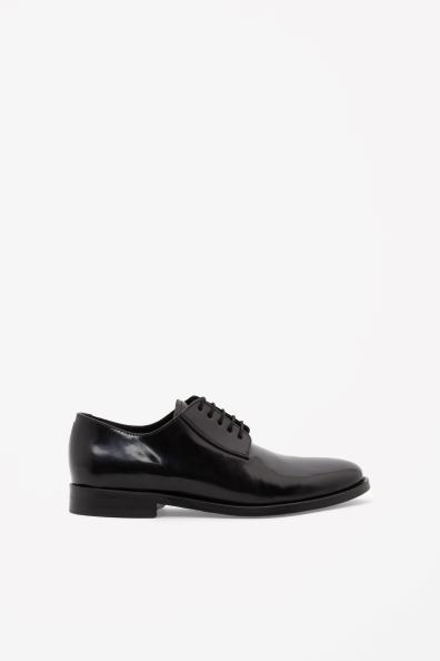 Patent Lace Up Shoes - predominant colour: black; occasions: casual, evening, work; material: leather; heel height: flat; toe: round toe; finish: plain; pattern: plain; style: lace ups; season: s/s 2013