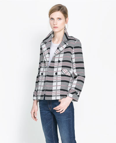 Checked Double Breasted Jacket - pattern: checked/gingham; style: double breasted blazer; collar: standard lapel/rever collar; secondary colour: white; occasions: casual, work; length: standard; fit: straight cut (boxy); fibres: cotton - 100%; predominant colour: multicoloured; sleeve length: long sleeve; sleeve style: standard; collar break: medium; pattern type: fabric; pattern size: standard; texture group: woven light midweight; season: s/s 2013; multicoloured: multicoloured