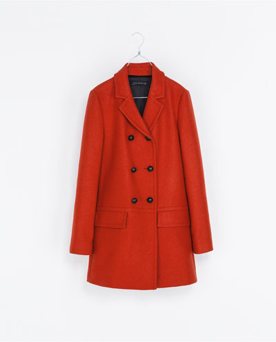 Short Double Breasted Overcoat - pattern: plain; length: below the bottom; style: double breasted; collar: standard lapel/rever collar; predominant colour: true red; occasions: casual, work; fit: straight cut (boxy); fibres: wool - mix; sleeve length: long sleeve; sleeve style: standard; collar break: medium; pattern type: fabric; texture group: woven bulky/heavy; trends: broody brights; season: s/s 2013